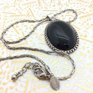 EXPRESS Silvertone Black Cabachon Necklace